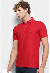 Camisa Polo Tommy Hilfiger Regular Logo Bordado Masculina - Masculino-Vermelho