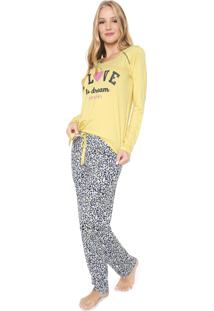 Pijama Any Any Love Dream Amarelo/Cinza