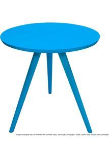 Mesa Lateral De Canto Tripé Laqueada Azul Turquesa