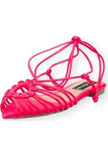 Sandalia Love Shoes Rasteira Bico Folha Amarração Tirinhas Pink