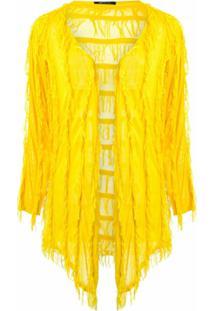 Uma | Raquel Davidowicz Cardigan Com Franjas - Amarelo