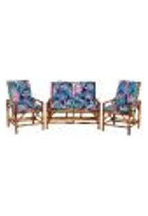 Sofá 2 Lugares 2 Cadeiras De Bambu Cancun Para Area Edicula Jardim G23
