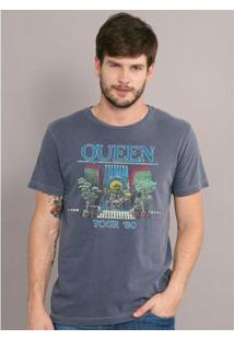 T-Shirt Bandup Premium Queen Tour 80' - Masculino-Azul