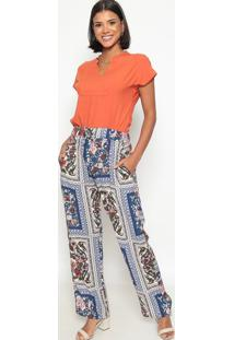 Calça Pantalona Floral- Azul & Marromvip Reserva