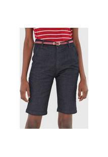 Bermuda Jeans Cantão Chino Alfaiataria Azul-Marinho