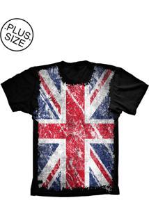 Camiseta Lu Geek Plus Size Flag England Preto