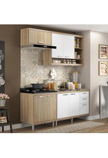 Cozinha Compacta 7 Portas Com Balcão Sem Pia 5810 Branco/Argila - Multimóveis