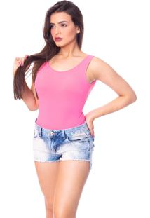 Body Moda Vicio Regata Com Bojo Decote Costas Com Elástico Rosa Escuro