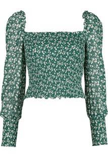 Reformation Blusa Com Estampa Floral Pinto - Verde