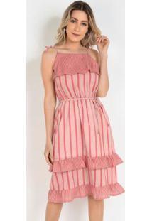 Vestido De Alcinhas Com Babados Listras Rosa