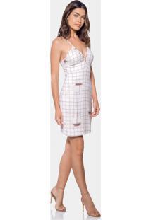 Vestido Com Alças Estampado Tecido Blanc - Lez A Lez