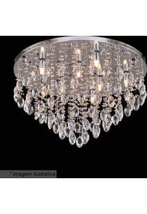 Plafon Redondo Com Pingentes- Cristal & Inox- 37Xã˜60Hevvy