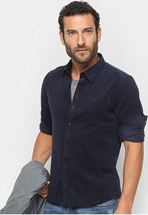 Camisa Ellus Manga Longa Detalhe Bordado Light Corduroy Slim French Masculina - Masculino