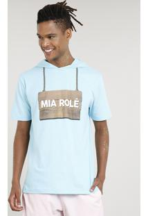 """Camiseta Masculina Carnaval Ursinho """"Mia Rolê"""" Com Capuz De Orelhinhas Manga Curta Azul Claro"""