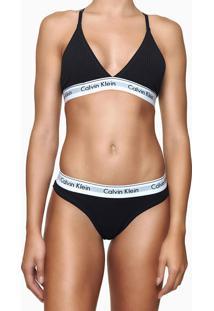 Top Sutiã Triângulo Canelado E Renda Atrás Preto Underwear Calvin Klein - L