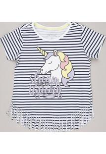 Blusa Infantil Listrada Unicórnio Com Glitter Manga Curta Decote Redondo Em Algodão + Sustentável Off White