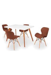 Conjunto Mesa De Jantar Gih 120X80Cm Branca Com 4 Cadeiras Slim - Marrom