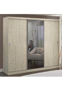 Guarda-Roupa Casal 3 Portas Com 1 Espelho 100% Mdf 1905E1 Marfim Areia - Foscarini