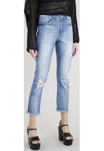 Calça Jeans Feminina Reta Vintage Com Rasgos Azul Claro