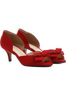 6f79ffd316 ... Peep Toe Shoestock Festa Baixo Semi Cetim Laço - Feminino-Vermelho