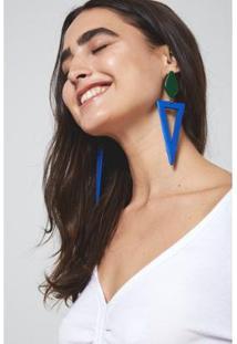 Brinco Triangulo Madeira Oh, Boy! Feminino - Feminino-Azul