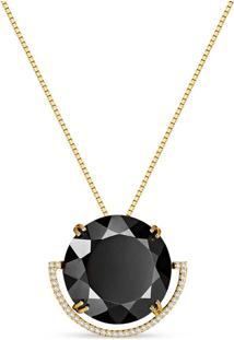 Pingente Ouro Amarelo Quartzo Negro E Diamantes 23 Mm