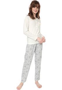 Pijama Pzama Botões Off-White/Azul