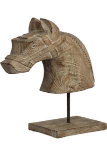 Estatua Cavalo- Pashmina- Madeira- Marrom