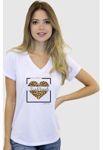 Baby Look T-Shirt Feminina Suffix Branca Gola V Estampa Coração De Onça