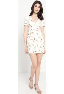 Vestido Com Recortes- Off White & Laranja- Colccicolcci