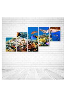 Quadro Decorativo - Underwater World Fish Turtles Corals - Composto De 5 Quadros