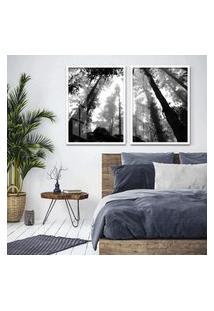 Quadro 65X90Cm Floresta Preto E Branco Moldura Branca Com Vidro