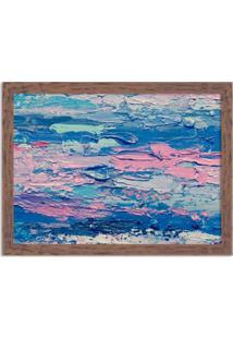 Quadro Decorativo Abstrato Moderno Azul Madeira - Grande