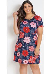 Vestido Evasê Floral Plus Size