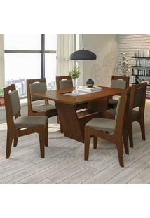 Mesa De Jantar Com 6 Cadeiras Csj140Waf – Kappesberg - Cacau