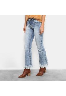 Calça Jeans Flare Lez A Lez Marmorizada Cintura Alta Feminina - Feminino-Jeans