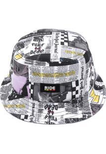 Chapéu Bucket Ride Skateboard Estampa Branco/Cinza