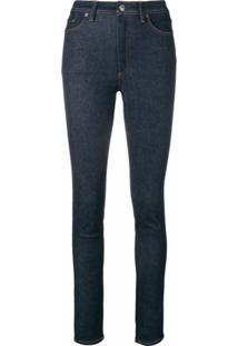 Acne Studios Calça Jeans Peg Cintura Alta - Azul