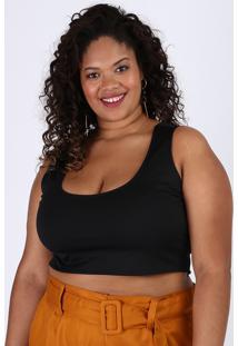 Top Cropped Feminino Plus Size Alça Larga Decote Redondo Preto