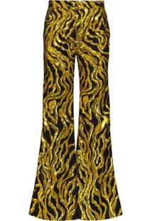Halpern Sequin-Embellished Flared Trousers - Dourado