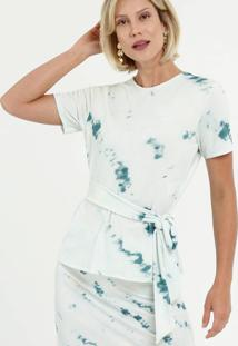 Blusa Feminina Piquet Estampa Tie Dye Manga Curta Marisa