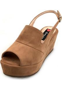 Sandália Anabela Love Shoes Média Fechada Uncle Boot Nobuck Caramelo