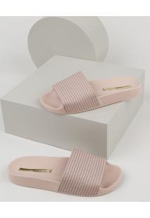 Chinelo Slide Feminino Moleca Com Textura Rosa