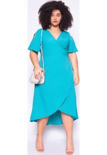 Vestido Almaria Plus Size Ela Linda Malha Azul Turquesa