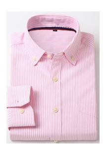 Camisa Social Masculina Nashville - Rosa E Branca