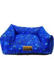 """Cama Quadrada """"Dog""""- Azul Escuro & Preta- 20X70X70Cm4 Patas"""