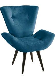 Poltrona Thais Suede Amassado Azul American Confort