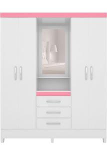 Guarda-Roupa Casal Com Espelho Pérsia 4 Pt 3 Gv Branco E Rosa