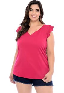 Blusa Forma Rara Plus Size Babado Ombro Rosa Cereja-58