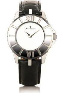 Relógio Jean Vernier Pulseira Couro Vidro Cristal Feminino - Feminino-Preto+Branco